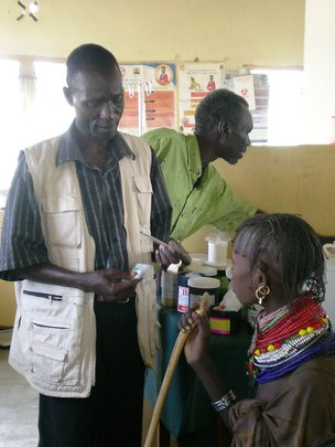 A Merlin health worker and patient,Turkana