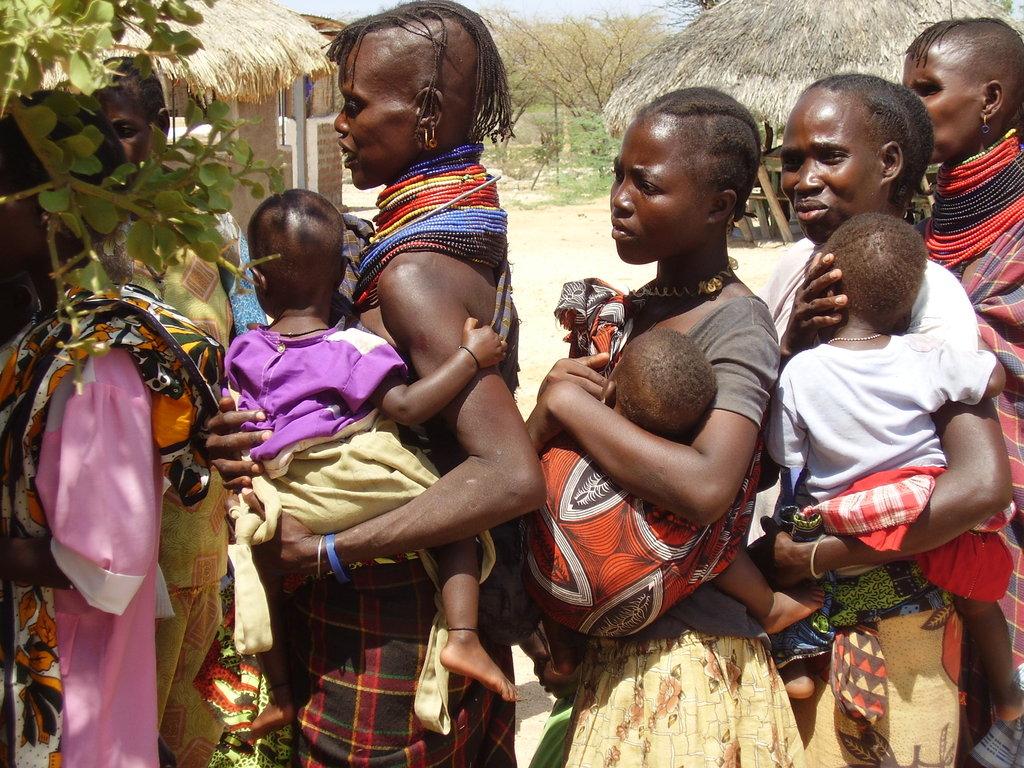 Mothers & babies wait at Lokichur Health Center