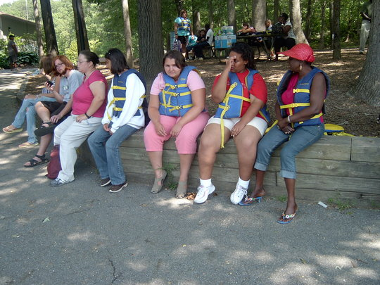 Campers wait for their turn on a boat ride.
