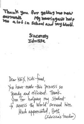 Idrissa's & her teacher's notes about her earmolds