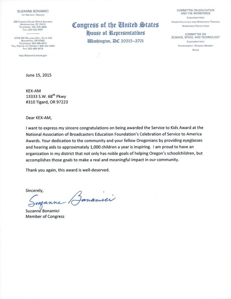 Letter from Oregon Congresswoman Suzanne Bonamici