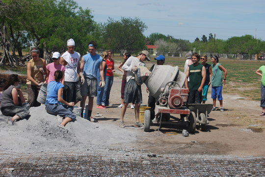 Mission team builds driveway for children