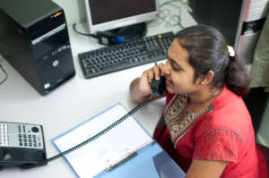 Social worker managing the hotline