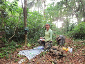 Setting up camera traps (picture by CJC)