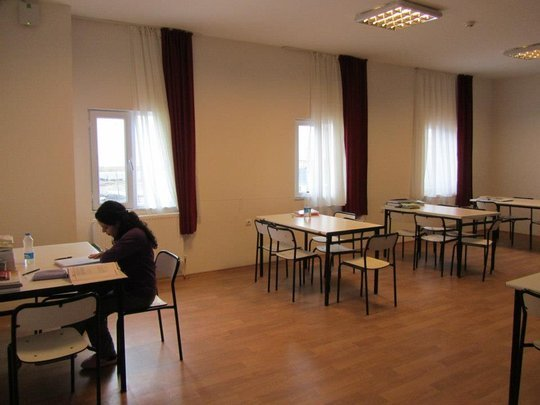 A girl studying in a study area