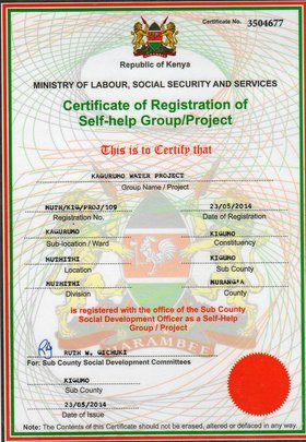 Registration certificate for water project
