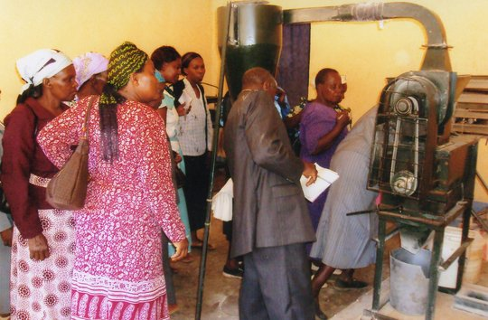 Community members viewing cassava factory