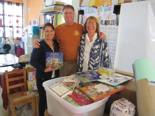Alba Estrada (L) with Rotarians from Reno NV