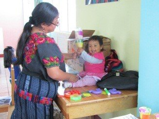A mother of Chiche stimulates to her child