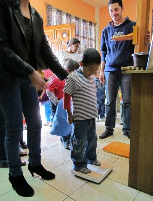 Each child is weighed and measured each week.