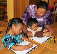 Mom and kids learning together