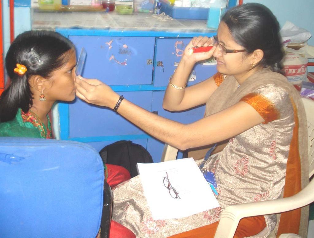 Hospital staff testing the eyesight of a girl