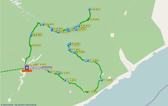 A map shows the ATV movements and routes.