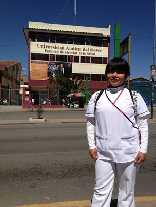 Claudia is studying obstetrics at Univ. Andina.