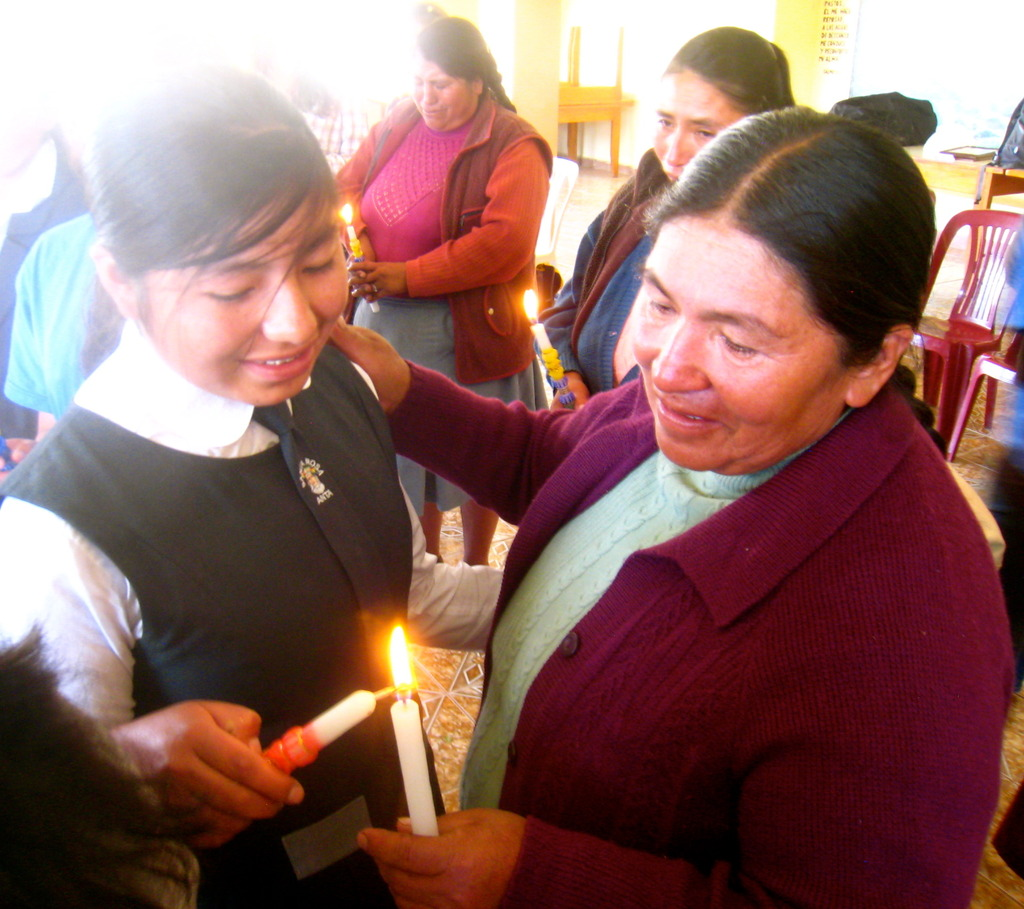 Lucero and her mother during the candle ceremony.