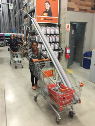 Epi shopping for materials for her new bathroom
