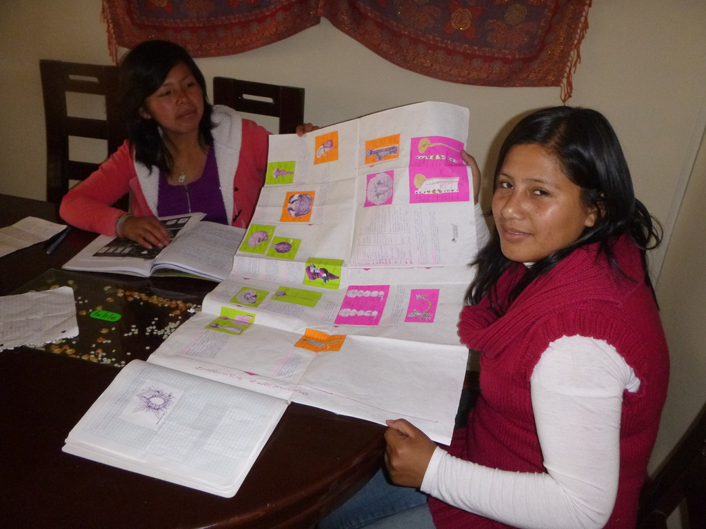 Yola and Elizabeth working hard on their homework.