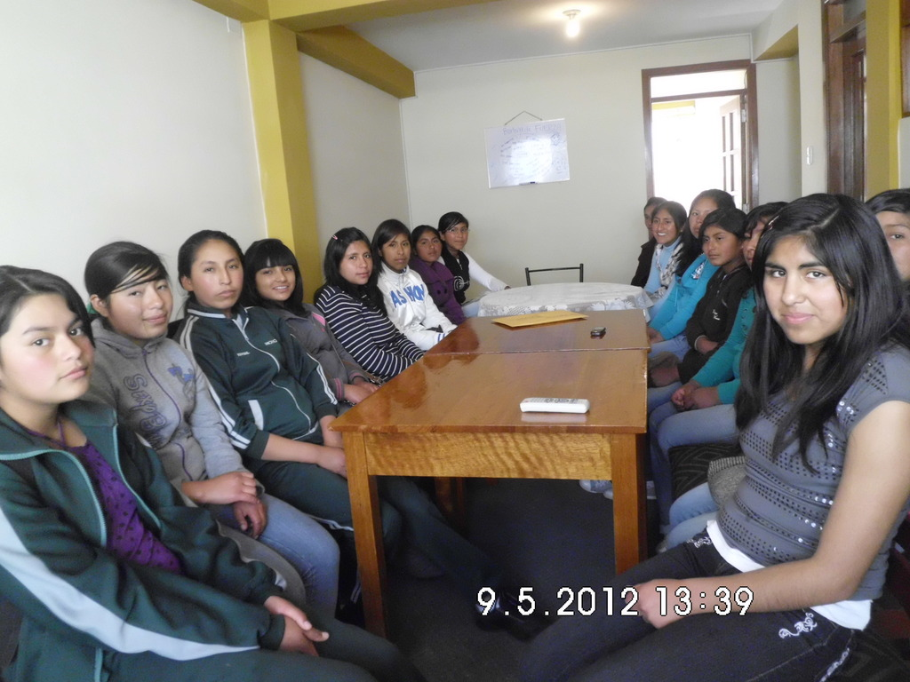 Girls from Peruvian Promise at a recent meeting.