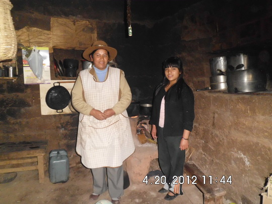 Claudia and her mother in their home.