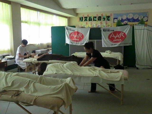 Parents receive massages