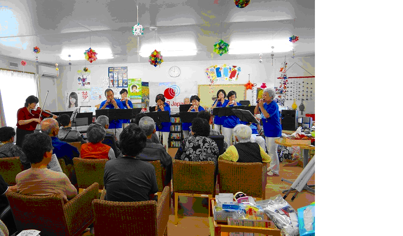 Joint performance of violin and ocarina