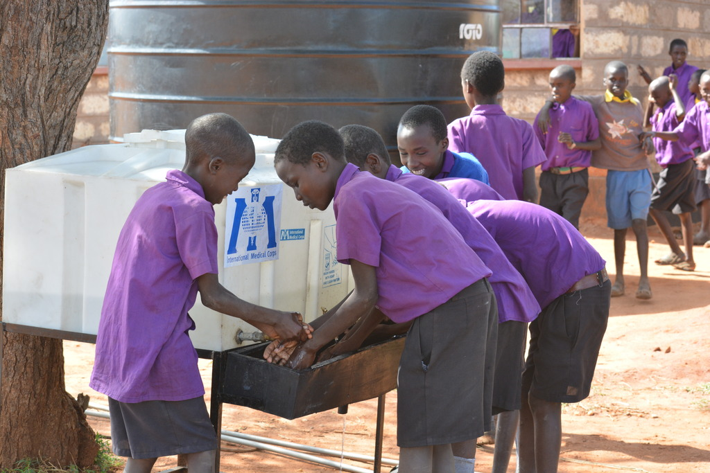 Children using our hand washing station