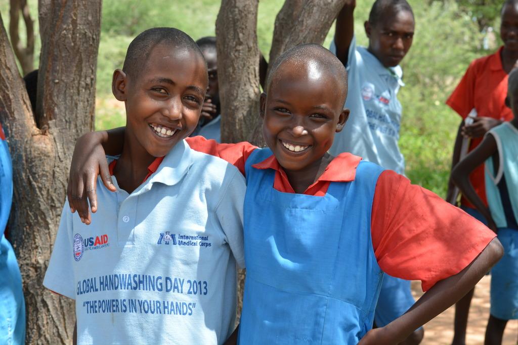 Children learning sanitation techniques in Samburu