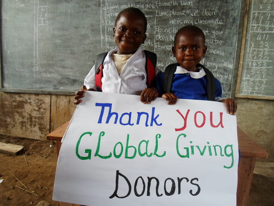 MarieStella ^ Blaise thanking GlobalGiving Donors