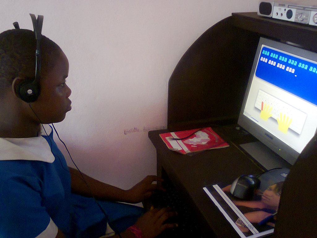 Children touch typing to improve their skills