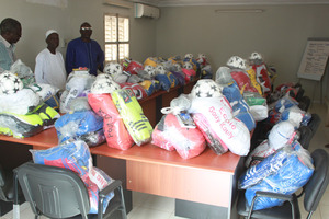 Schools received soccer balls & colourful t-shirts