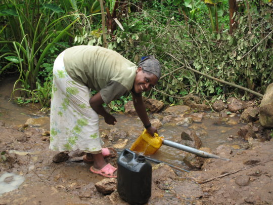 Collecting clean water for cooking and cleaning