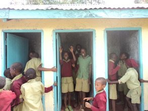 Children celebrate the new latrines. GHARP/KRA