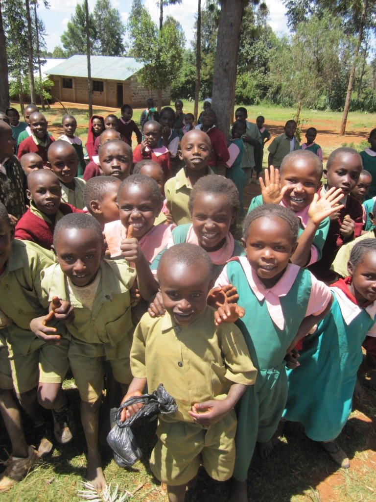 Excited children at Matuiku Primary School