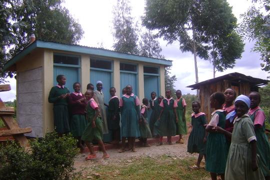 Girls gather at new latrines. GHARP/KRA