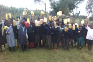 Pupils bring water with jerricans to school