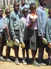 Kenyan School Children Queuing for Lunch