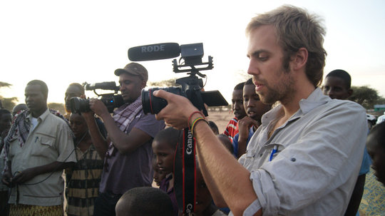 Matt, Ahmed filming, Liboi, Kenya
