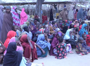 Somali refugees waiting for Survival Backpacks