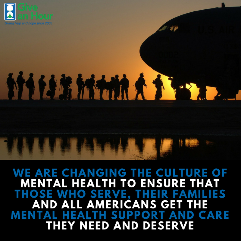 Give an Hour provides free mental health services.