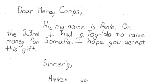 Annie's note to Mercy Corps