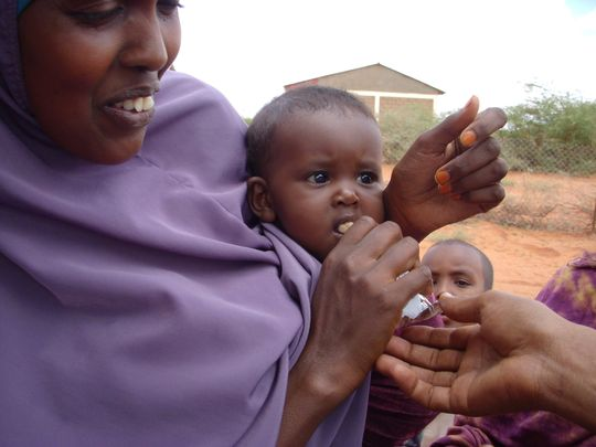Malnourished children receive therapeutic food