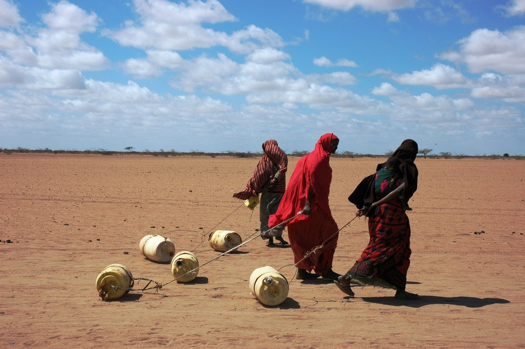 Women taking water home in Kenya