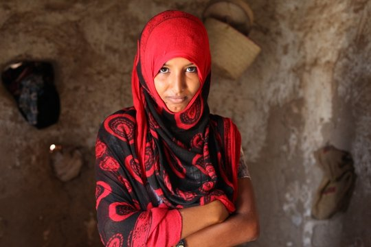 Emergency food aid recipient in Yemen