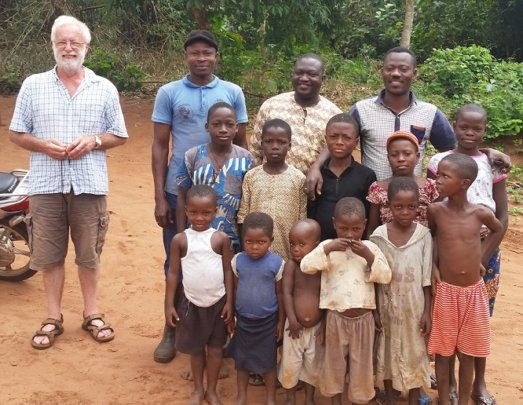 Dick with friends in Benin