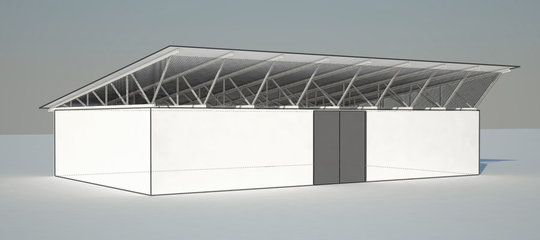 Rendering of the briquette shelter designed by 5H