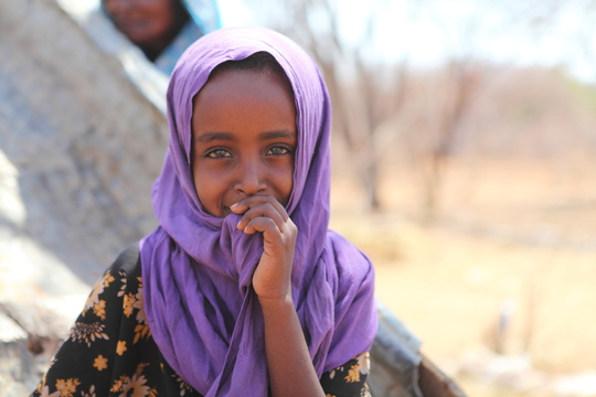 A young Somali girl in the Horn of Africa.