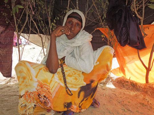 Khayro Yussuf inside her tent.