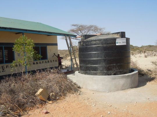 A rainwater catchment tank at Benane Primary.