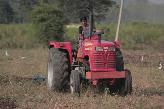 Kalpana drives her tractor