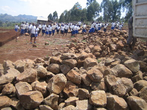 Stone delivered for foundation for new buildings